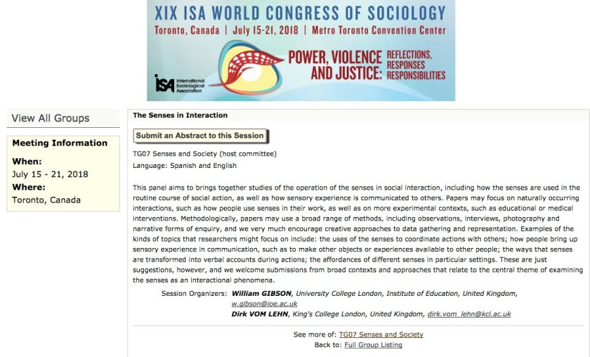 The Senses In Interaction Call For Abstracts Isa 2018 In